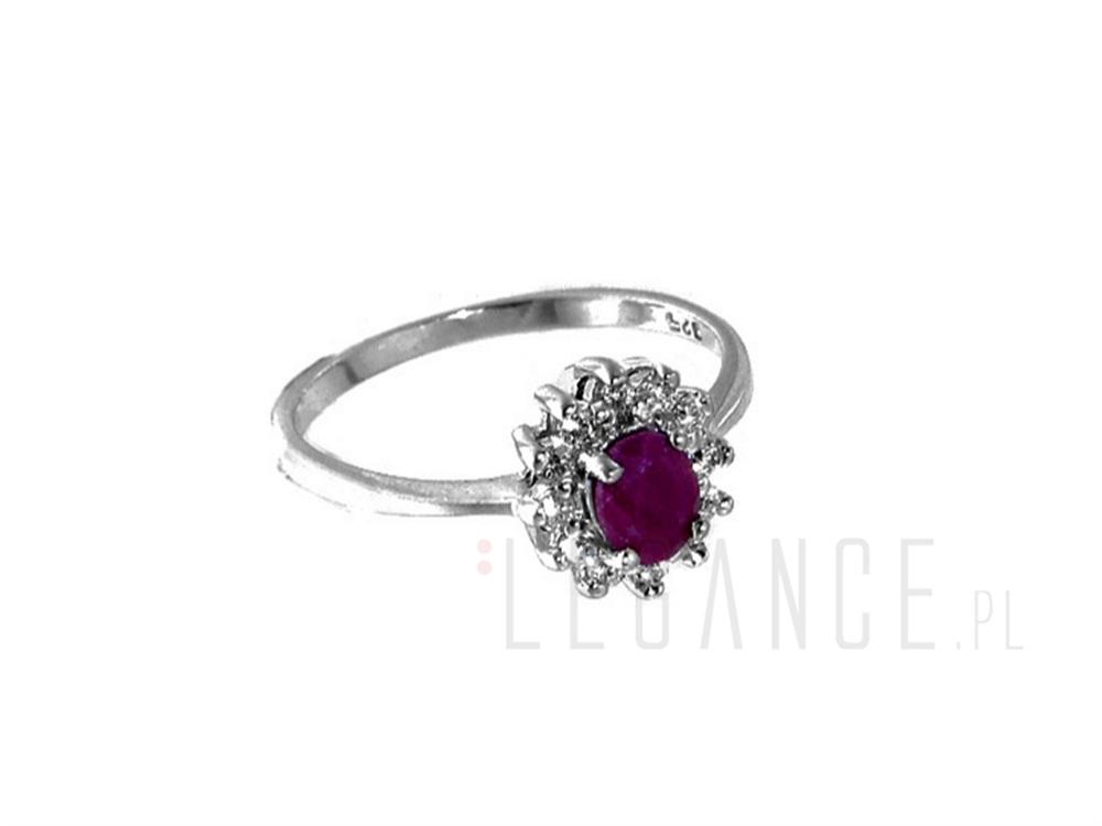 62f3efb616bab3 Srebrny pierścionek z rubinem YES VERONA - sklep Legance.pl