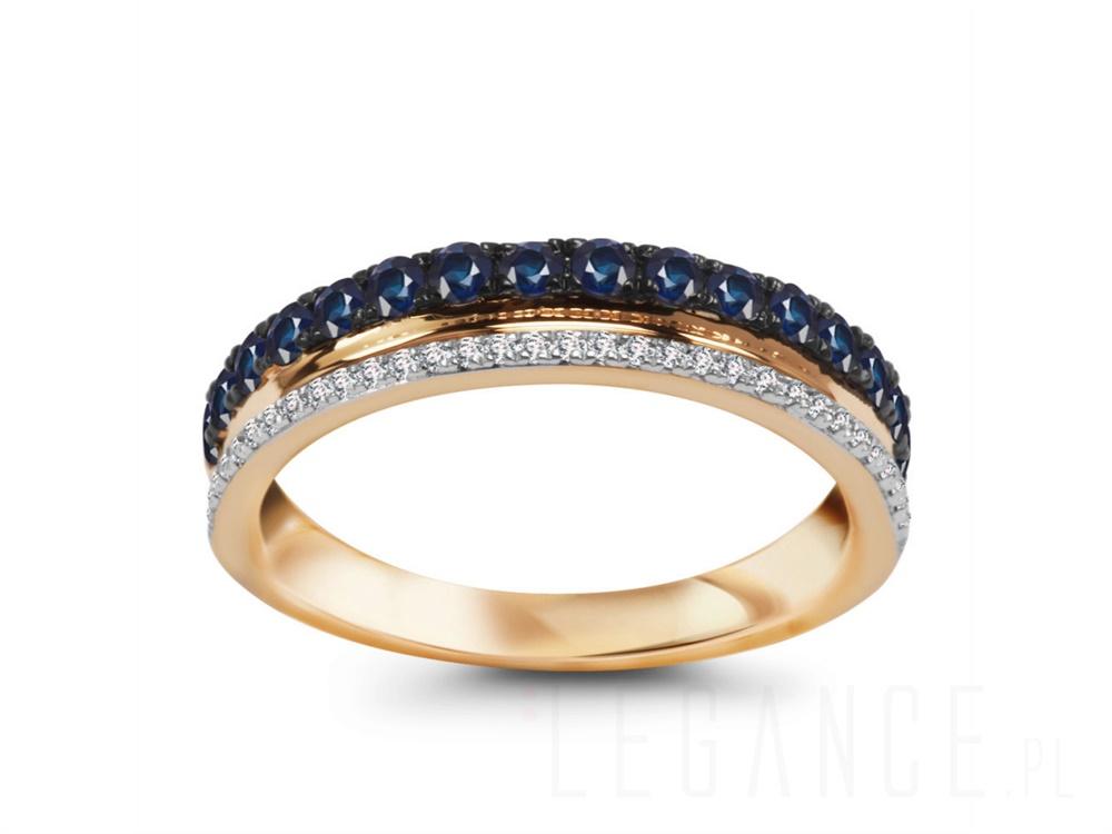 6d750879e2 Złota obrączka diamenty i szafiry YES VERONA - sklep Legance.pl