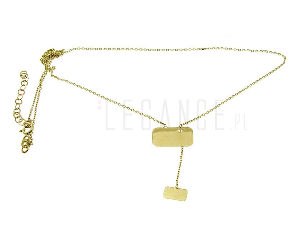 026c3765664389 Złoty naszyjnik 2 blaszki celebrytka YES VERONA - sklep Legance.pl
