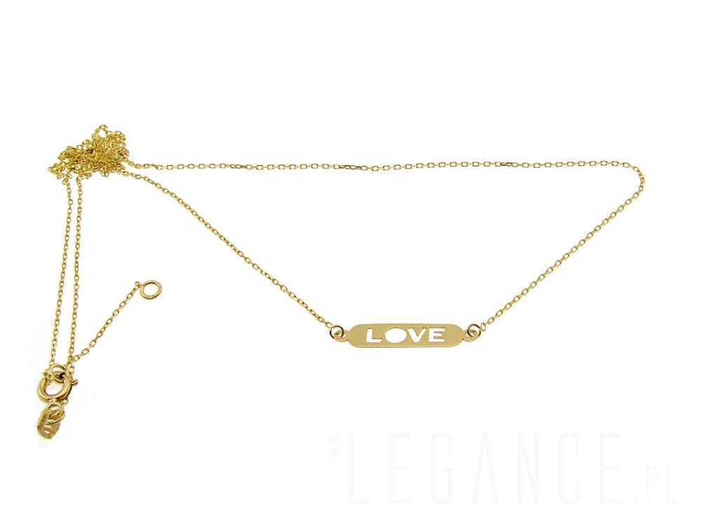 cf739a994d04aa Złoty naszyjnik celebrytka LOVE YES VERONA - sklep Legance.pl