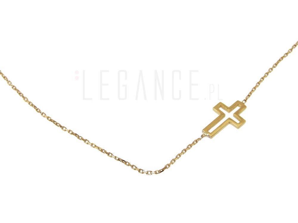 65a270e7043419 Złoty naszyjnik z krzyżykiem celebrytka YES VERONA - sklep Legance.pl